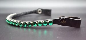 12mm CRYSTAL 1 ROW BLING DIAMANTE BROWBAND DRESSAGE FULL COB PONY GREEN COLOR