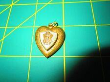 Locket Pendant crest army navy marine Vintage Ww11 Era Gold Filled Etched Flower