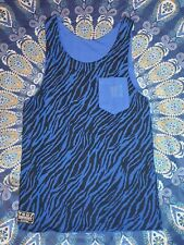 Beck&Hersey Double sided Vest- Blue Tiger stripes - Small