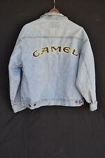 Vintage Camel Smoking Jean Jacket Logo on Back Large Made in USA