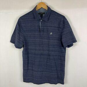 Banana Republic Mens Polo Shirt Size L Large Blue Short Sleeve Collared Slim Fit
