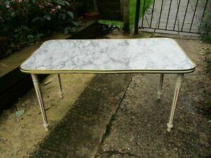 Fab Vintage Retro Kitsch Marble Effect Formica Wavy Edge Coffee Table Cream Legs