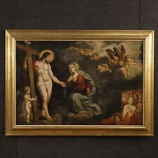 Antico quadro religioso dipinto olio tavola arte sacra Cristo Madonna 700 XVIII