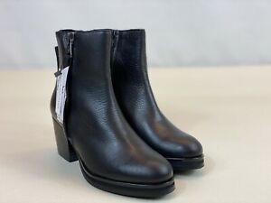 Sixty Seven Black Leather High Heels Platforms Ankle Boots Shoes Size 4