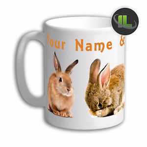 Personalised RABBIT  Mug Cup.Personalise with Name and Text - IL201