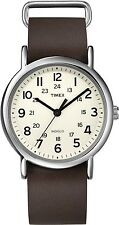 Timex Men's Weekender T2N893 White Calf Skin Quartz Fashion Watch