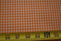 "By 1/2 Yd, Vintage 1/6"" Orange & White Cotton Gingham Fabric, N5647"