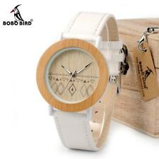 BoboBird Bamboo Eco Wooden Womans Female Ladies Watch Wristwatch Leather Strap