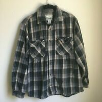 Kilimanjaro Expedition Outfitters Mens Flannel Shirt Medium Blue Gray Blk Plaid
