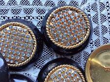 MAXI bottone gioiello ORO NERO STRASS SWAROVSKY ANNI 70 vintage BUTTON SARTORIA