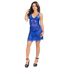 Women's Lingerie Sheer Lace Sequin Tassel Chemise G-String Babydoll Mini Dress