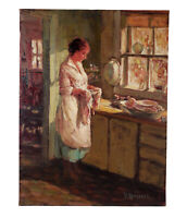 VIRGINIA RODECKER JARBOE OIL PAINTING CONTEMPLATIVE WOMAN SERENE INTERIOR SCENE