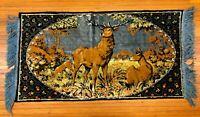 """Vintage 39"""" ITALY Hand Woven Majestic Deer Buck Elk Doe Tapestry Wall Art Rug"""