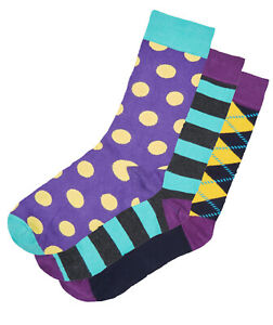 HS by HAPPY SOCKS Mens 3 PAIRS Big Spot Argyle Stripes > Size UK 7½-11½ EU 41-46