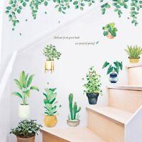 Summer Forest Green Plant Art Wall Sticker DIY Background Window Home Decor~