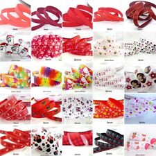 """25x1Yard Assorted Satin Grosgrain Ribbon Lot 3/8""""--1"""" Red Theme Craft Bow-A"""