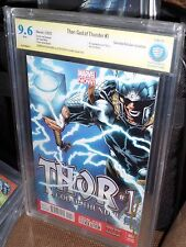 Thor God of Thunder #1 1:100 Quesada Variant CBCS SS 9.6 Signed Artist Ribic CGC