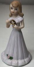 Enesco Growing Up Birthday Girls, Porcelain Figurine Brunette, Age 9