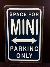 MINI Parking Only Metal Sign / Vintage Garage Wall Decor (30 x 20cm) Dark Blue