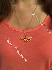 "Wonder Woman Logo Gold Plated Marvel Pendant Necklace 20"" Chain N35"