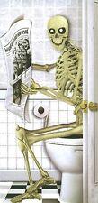5FT SKELETON ON TOILET BATHROOM DOOR COVER POSTER DECOR ALL WEATHER HALLOWEEN