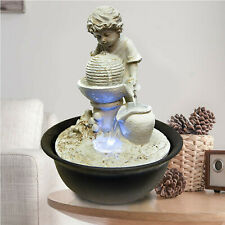 Boy Indoor Fountain Water Feature LED Lights Polyresin Statues Home Decoration