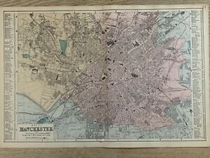 1884 Manchester City Plan Antique Hand Coloured Map by Edward Weller