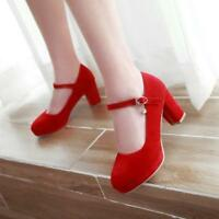 Womens Ladies candy Faux Suede Ankle Strap Chunky Mid Heel Mary Jane Shoes Pumps
