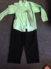 Boys Size 7 Black Dress Pants Green Button Down Shirt Green Stripe Tie Clip On