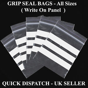 Write on Panel Grip seal plastic Clear bags  All Sizes Cheapest Fastest Delivery
