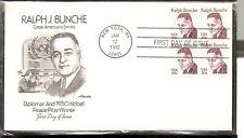 US SC# 1860 Ralph J. Bunche FDC. BLK4 . Artmaster Cachet.