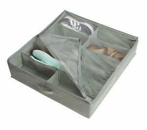 Deluxe Foldable Under bed Shoe Storage Organizer Drawer Holder Gray NEW