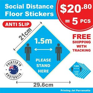 Social Distance Floor Decal Sticker - Anti Slip Outdoor UV & Water proof  (21cm)