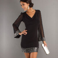 Women Sexy V-Neck Sequined Long Sleeve Stitching Evening Party Short Dress UK