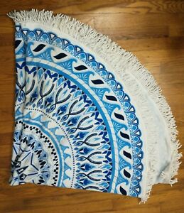"Vagabond 59"" Round Beach Towel - Blue / White"