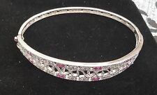 sterling silver 925 bangle with Pink And Clear cz stones