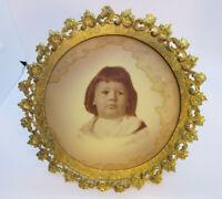 "New York Medallion Portraits Co Tin Type Sepia Original Frame Early 1900s 7 1/2"""