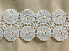 LM23 vintage bohemian white double-row round flower scallop lace 12 cm x 2yards