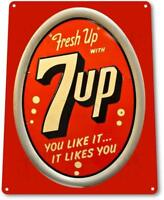 7-up Fresh Up  Soda Logo Metal Decor Art Store Cola Sign