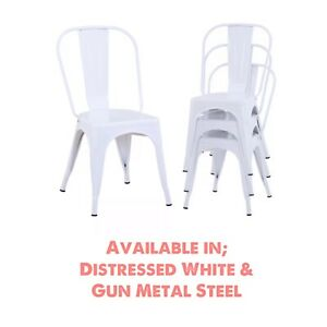 Industrial Style Bistro Retro Chairs, Distressed White & Steel Colours