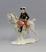 9941457 Porzellan Figur Alter Fritz zu Ross Ens H33cm,L33cm