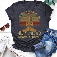 Women Vintage Printed Yoga T-shirt Fashion Cute Sports Shirts Workout Top Blouse