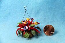 Dollhouse Miniature Hanging Flowers / Pansies in Wicker Basket ~ F2055
