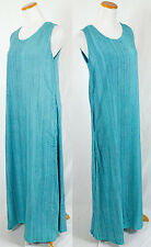Vintage Batik Rayon Bright Blue Sleeveless Sun Dress!! Size S