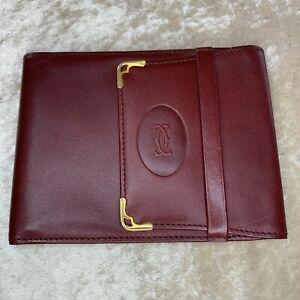 Vintage Cartier Wallet Card / Passport Holder Bordeaux Leather