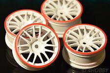 4 Räder Felgen 1/10 Rot-Weiß 1:10 RC Car Rim 26mm 52mm On-Road Auto Modellbau