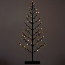 4ft 120cm snowy flat twig tree with warm white 96 led lights home decoration