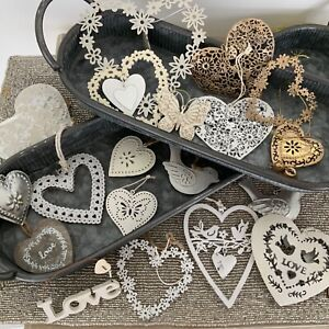 Hanging Metal Wood Heart Vintage Chic Distressed Decorations Wedding Favours
