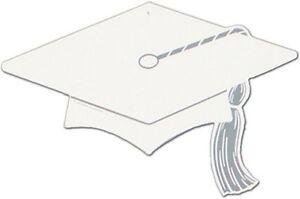 """6 pieces Graduate hat / cap Silhouette 16"""" x 11"""" white, decoration pin up"""