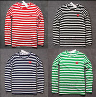 Hot STRIPED MEN'S WOMEN COMME DES GARCONS CDG PLAY RED HEART LONG SLEEVE T-SHIRT